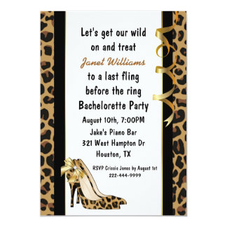Jaguar Print High Heels Bachelorette Party 13 Cm X 18 Cm Invitation Card