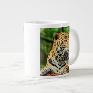 Jaguar shows its teeth, Belize Large Coffee Mug