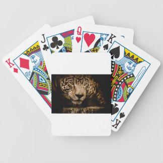Jaguar Water Stalking Eyes Menacing Fearsome Male Bicycle Playing Cards