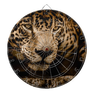 Jaguar Water Stalking Eyes Menacing Fearsome Male Dartboard