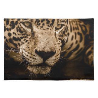 Jaguar Water Stalking Eyes Menacing Fearsome Male Placemat