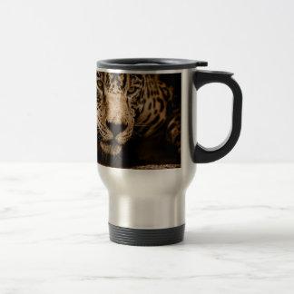 Jaguar Water Stalking Eyes Menacing Fearsome Male Travel Mug