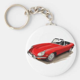 Jaguar XKE Red Car Basic Round Button Key Ring