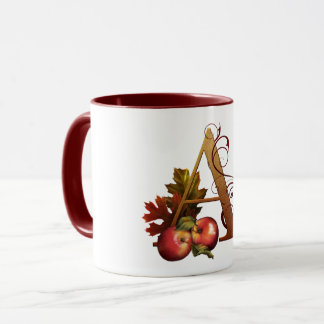 "Jaguarwoman's ""Ars Botanica 3""  Monogram Mug ""A"""