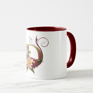 "Jaguarwoman's ""Ars Botanica 3"" Monogram Mug ""D"""