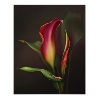 "Jaguarwoman's ""Hot Calla"" Floral Power Poster"