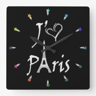 j'aime Paris Square Wall Clock