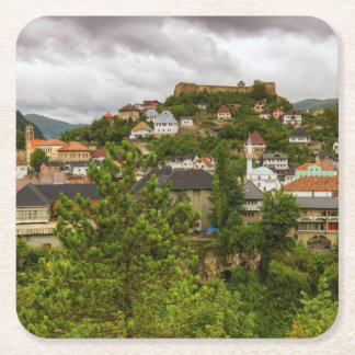 Jajce, Bosnia and Herzegovina Square Paper Coaster