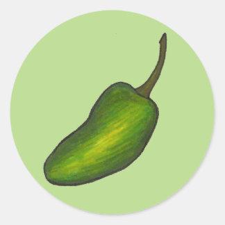 Jalapeno Pepper Spicy Hot Green Jalapenos Veggie Classic Round Sticker