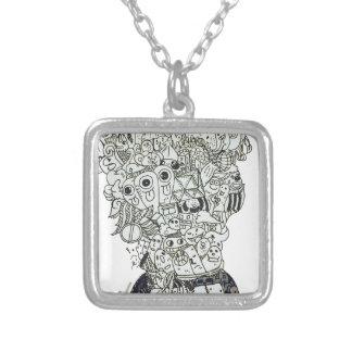 Jam Jar doodle Silver Plated Necklace