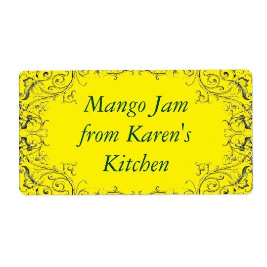 Jam label with leaf border