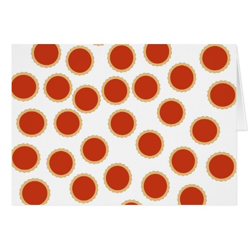 Jam Tart Pattern. Strawberry Red. Pies. Card