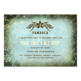 "JAMAICA 2 Destination Invitation Vintage Linen 5"" X 7"" Invitation Card"