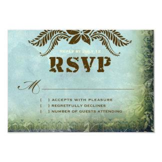 JAMAICA 2 RSVP Vintage Blue Green Linen Paper 9 Cm X 13 Cm Invitation Card