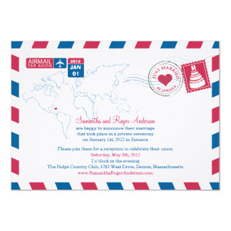 Jamaica Air Mail Post Wedding Reception Card