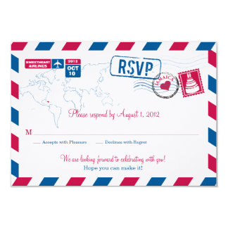 JAMAICA Air Mail Wedding RSVP Card