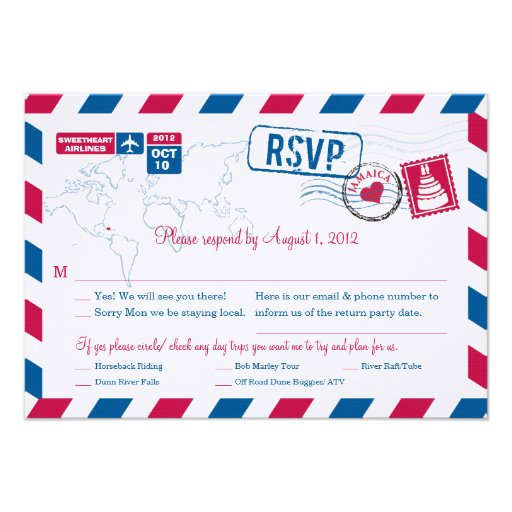 JAMAICA Air Mail Wedding RSVP Custom Announcements