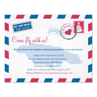 Jamaica Air Mail Wedding Travel Information 11 Cm X 14 Cm Invitation Card