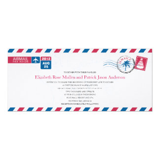 "Jamaica Airmail Wedding Invitation 4"" X 9.25"" Invitation Card"