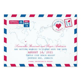 Jamaica AirMail Wedding Save the Date 13 Cm X 18 Cm Invitation Card