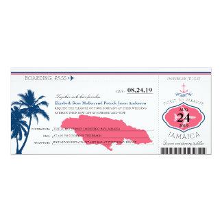 Jamaica Blue/Pink Palm Tree Anchor Boarding Pass 10 Cm X 24 Cm Invitation Card