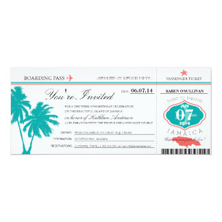 "JAMAICA Boarding Pass Birthday 4"" X 9.25"" Invitation Card"