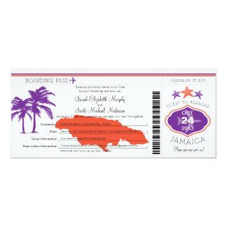 Jamaica Boarding Pass Wedding 10 Cm X 24 Cm Invitation Card