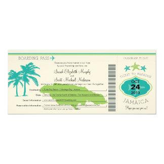 "Jamaica Boarding Pass Wedding 4"" X 9.25"" Invitation Card"