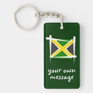 Jamaica Brush Flag Double-Sided Rectangular Acrylic Key Ring