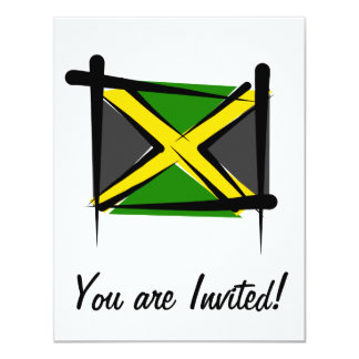 Jamaica Brush Flag 11 Cm X 14 Cm Invitation Card