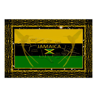 Jamaica Colors Parishes Humming Bird Poster