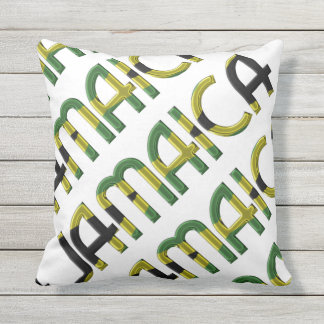 Jamaica Country Flag Colors Typography Souvenir Throw Pillow