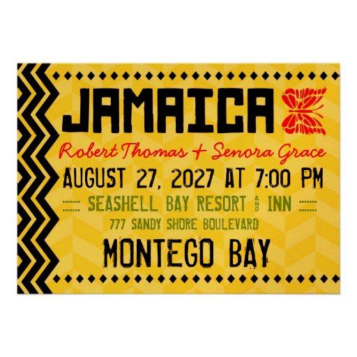JAMAICA Destination Invitation Metallic Gold