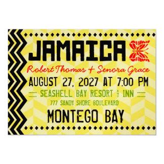 "JAMAICA Destination Invitation Metallic Gold 5"" X 7"" Invitation Card"