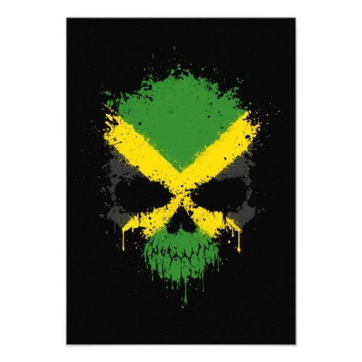 Jamaica Dripping Splatter Skull Custom Invitations