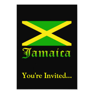 Jamaica Flag, Black, Green and Yellow 13 Cm X 18 Cm Invitation Card
