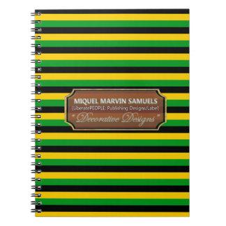 Jamaica Flag Colors  Stripes Designer Notebook