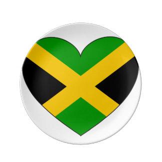 Jamaica Flag Heart Plate