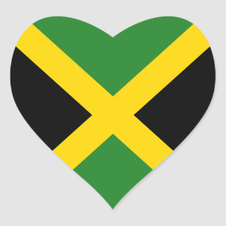 Jamaica Flag Heart Sticker