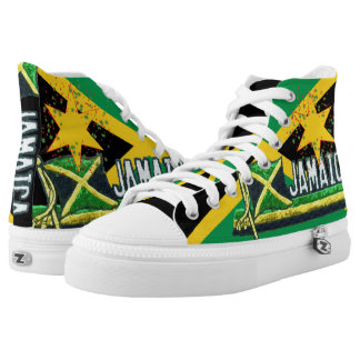 Jamaica Flag Hi Top Lace up Sneakers