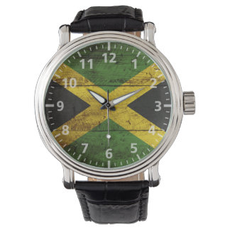 Jamaica Flag on Old Wood Grain Wristwatches