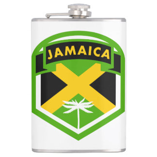 Jamaica Flag Shield Style Hip Flask