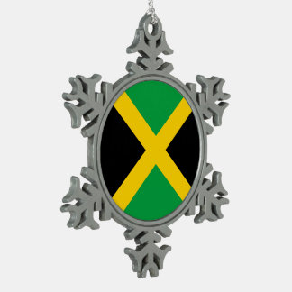 Jamaica Flag Snowflake Pewter Christmas Ornament