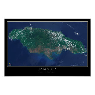 Jamaica From Space Satellite Map Poster