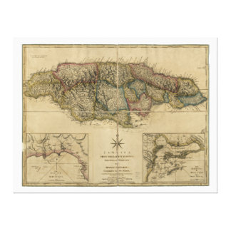 Jamaica from the latest Surveys Map (1775) Canvas Print