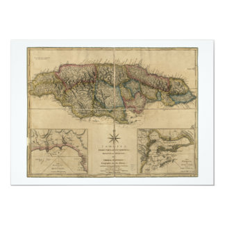 "Jamaica from the latest Surveys Map (1775) 5"" X 7"" Invitation Card"