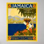 Jamaica Gem of The Tropics Vintage Travel Poster