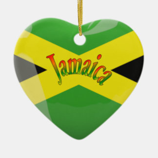 Jamaica Heart Love Ceramic Ornament