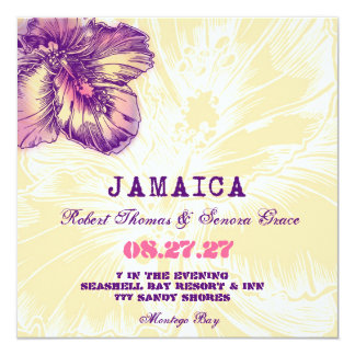"""JAMAICA Hibiscus Destination Invitation 5.25"""" Square Invitation Card"""