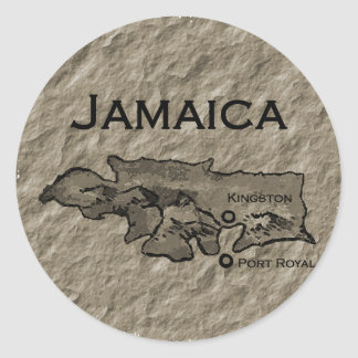 Jamaica Map (vintage) Classic Round Sticker